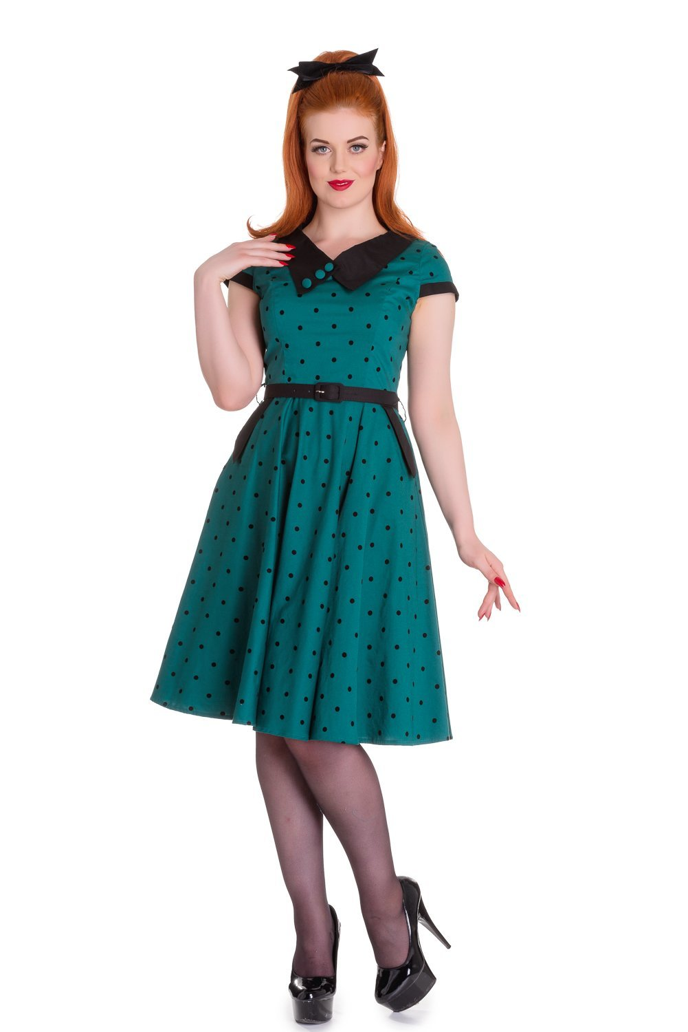 RKP83-Hell-Bunny-Brooke-Dress-Rockabilly-Pin-Up-Retro-Polka-Dot-Vintage-50-Swing