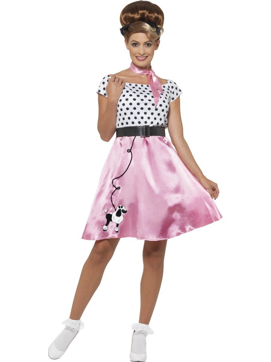 CA281-50s-Rock-and-N-Roll-Grease-Poodle-Sock-Hop-Pink-Ladies-Dress-1950s-Costume