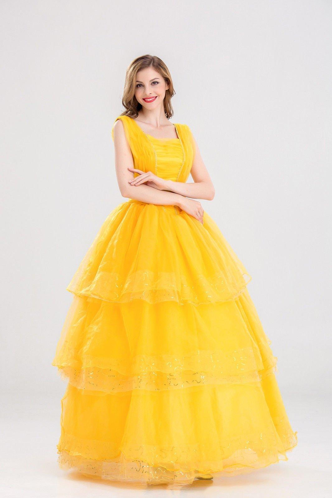 K381 Disney Belle Costume Beauty The Beast Movie Fancy Dress Gown ...