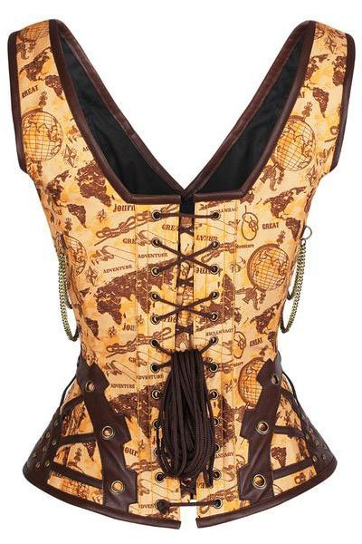 CC89-Steampunk-Brown-Brocade-Corset-Brown-PU-Leather-Gothic-Halloween-Costume